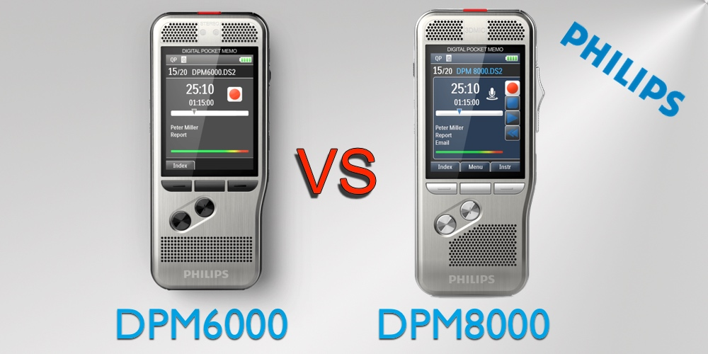 Philips PocketMemo Voice Recorder: DPM6000 vs. DPM8000