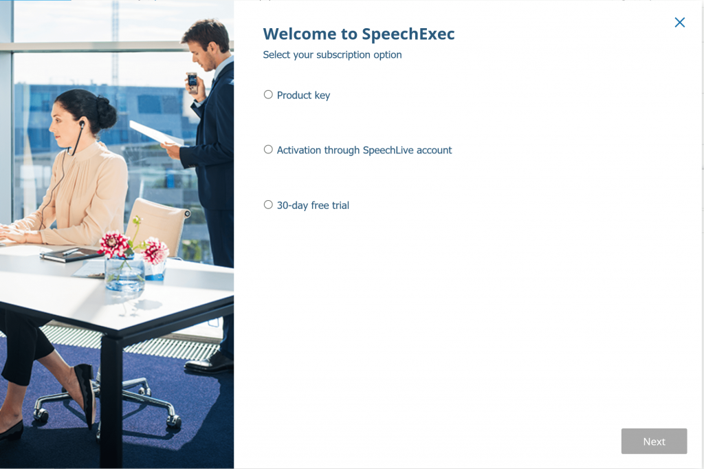 SpeechExec Pro Activation Screen