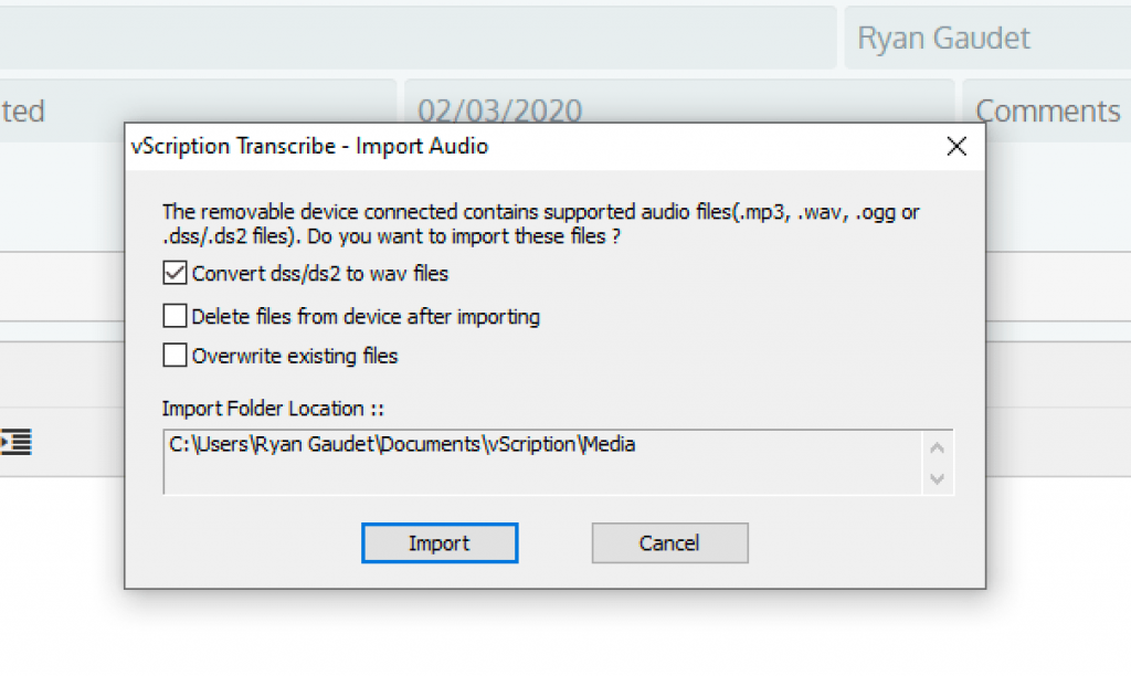 vScription Transcribe Import Window